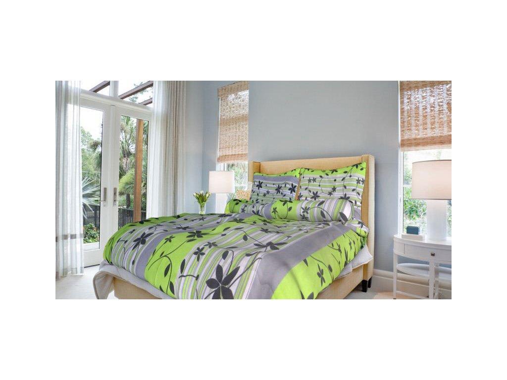 Bavlněné povlečení prodloužené (140x220) - Liana zelená