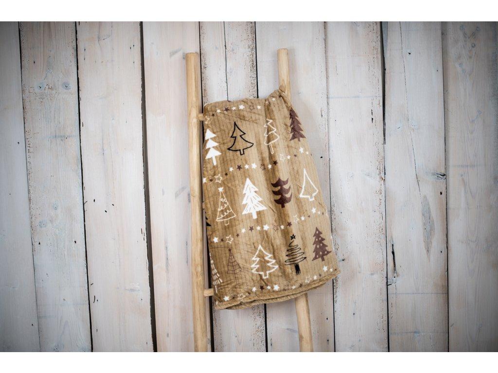 Mikroplyšová deka 150x200 - Stromy hnědé
