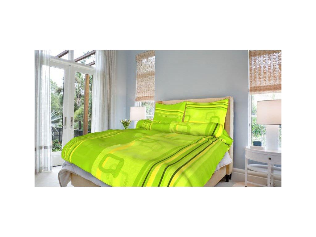 Bavlněné povlečení prodloužené (140x220) - Tonda zelený