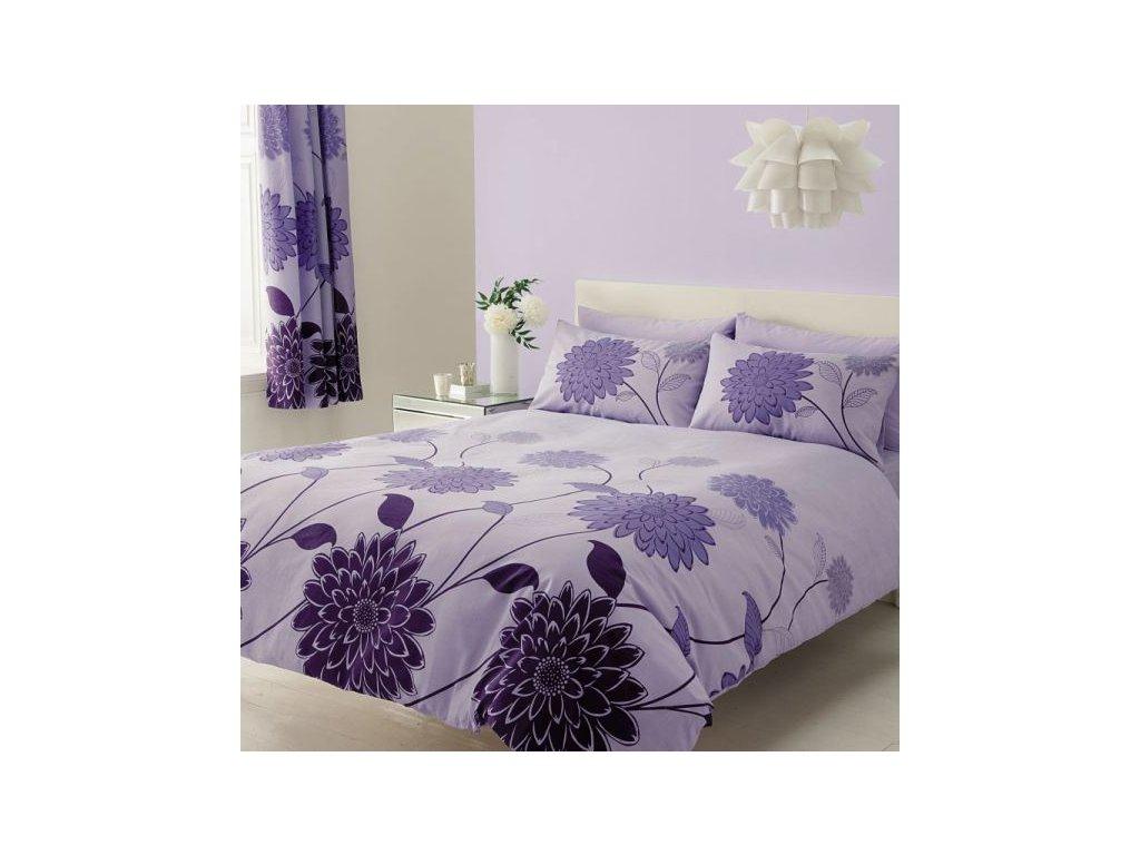 Bavlněné povlečení prodloužené (140x220) - Valerie fialová