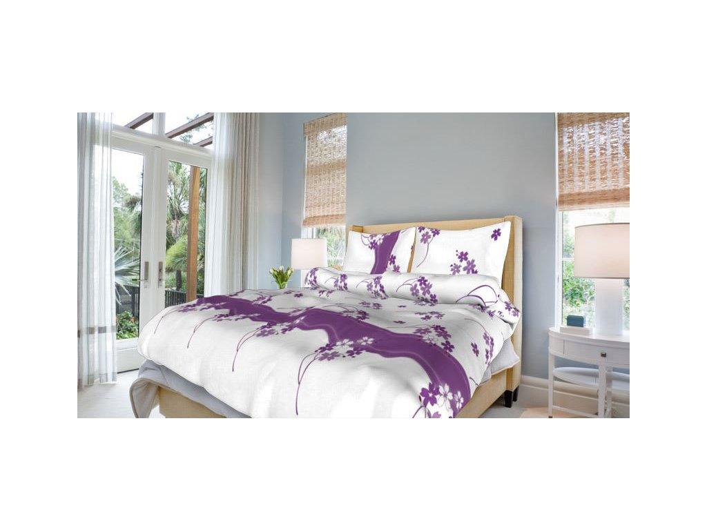 Francouzské bavlněné povlečení 200x220 - Květinka fialová