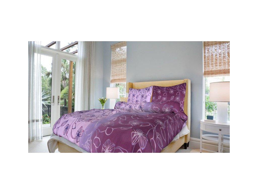 Francouzské bavlněné povlečení 200x220 - Nové stvoly fialové