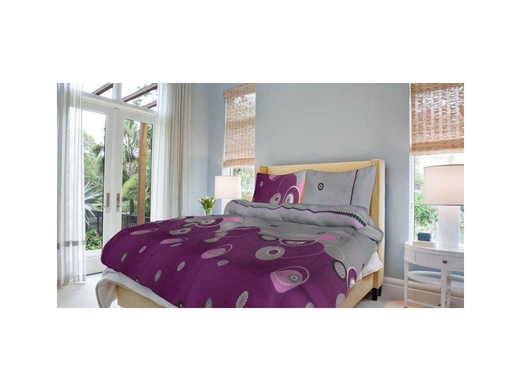 Francouzské bavlněné povlečení 200x220 - Perličky fialové