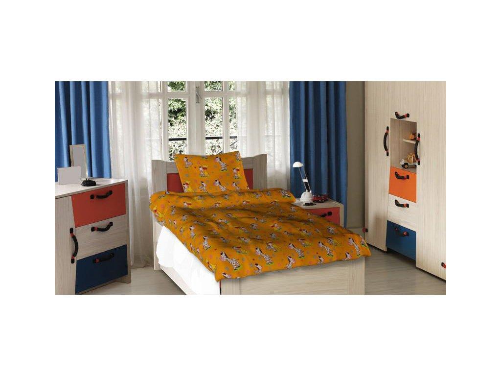 Dětské bavlněné povlečení - Zebra oranžová