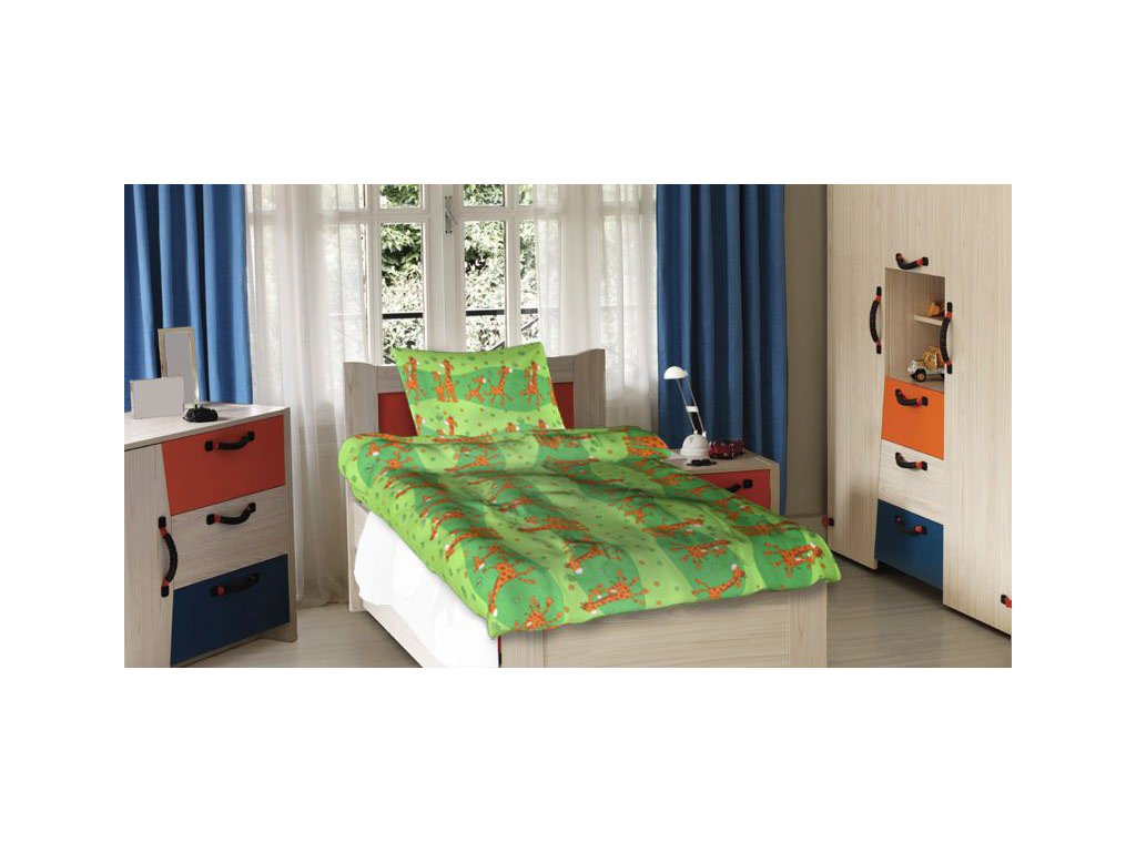 Dětské bavlněné povlečení - Žirafy zelené