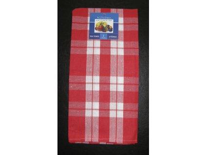 Kuchyňská utěrka červená - káro - 1 ks