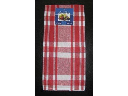 Kuchyňská utěrka červená - širší pruhy - 1 ks