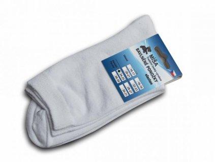 Bavlněné ponožky - bílá hladká