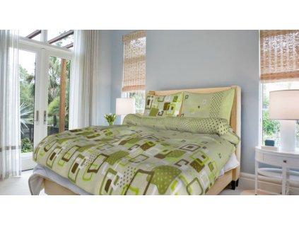 Francouzské bavlněné povlečení 200x220 - Adéla zelená