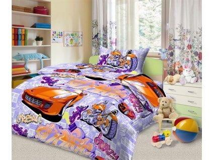 Dětské bavlněné povlečení - Auta fialová