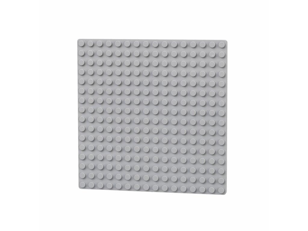 Oboustranná deska 16 x 16 (bodů) - světle šedá  kompatibilní s Lego, Sluban, Cogo aj.