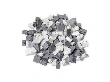 Kreativní set střešní prvky bílá & světle šedá  kompatibilní s Lego, Sluban, Cogo aj.
