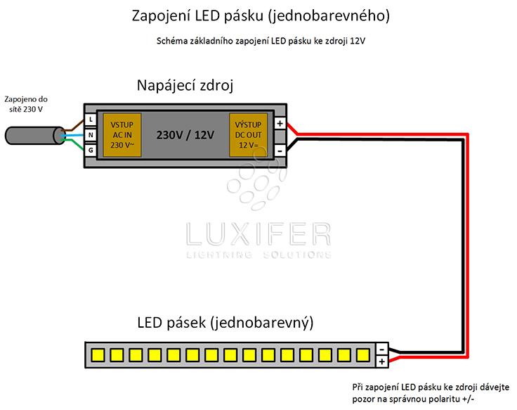 zapojení LED pásku