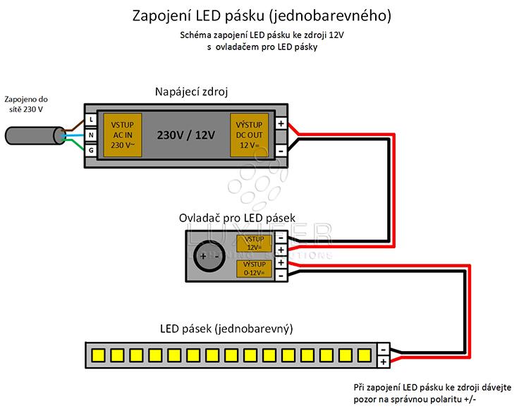 zapojení LED stmívače