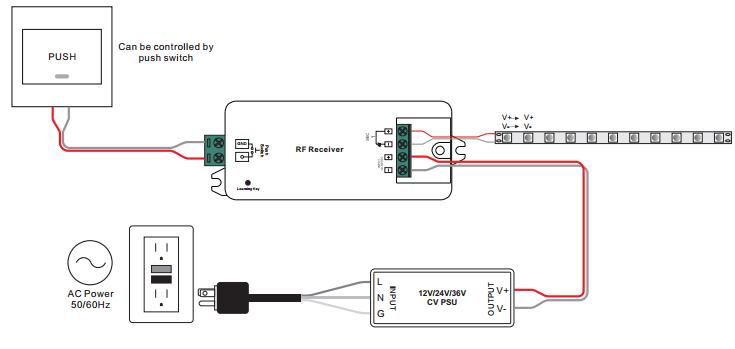 Sunricher RF LED přijímač, 1x8A - DIM10 (SR-1009CS)-Schéma zapojení