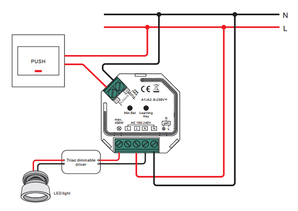 Sunricher RF 1-zónový triakový stmívač 400W - DIM10 (SR-1009SAC-HP) - schéma zapojení