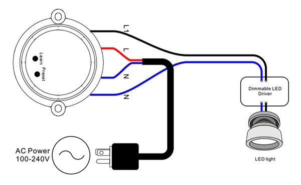 Sunricher RF 1-zónový triakový stmívač 100W - DIM10 (SR-1009SAC) - schéma zapojení