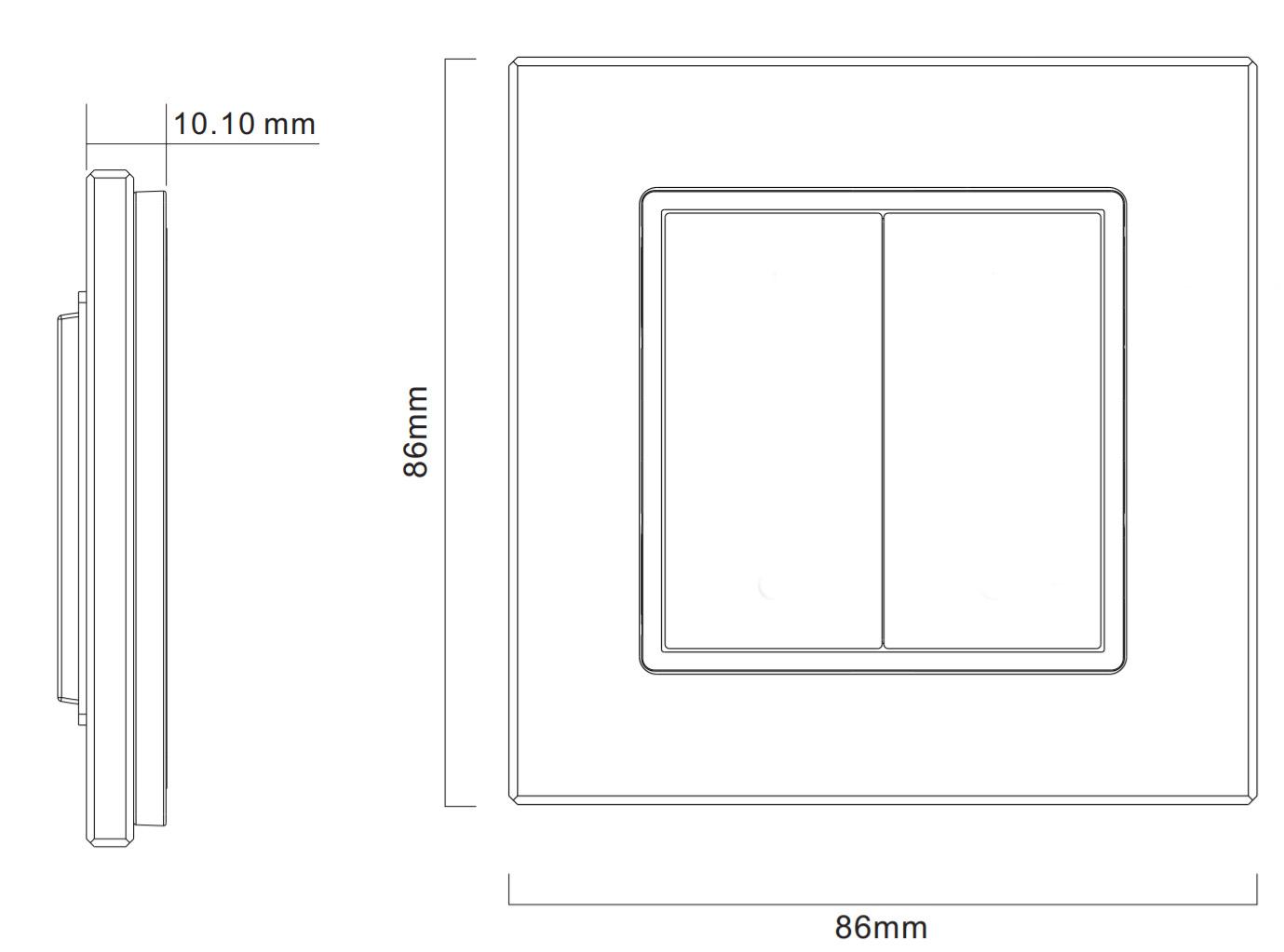 Sunricher RF 2-zónový LED nástěnný dvoutlačítkový ovladač - DIM10 - bílý (SR-2833K2)-Technický výkres