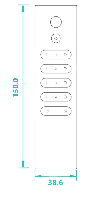 Sunricher RF 4-zónový Premium LED ovladač - DIM10 (SR-2833N-Z4)-Technický výkres