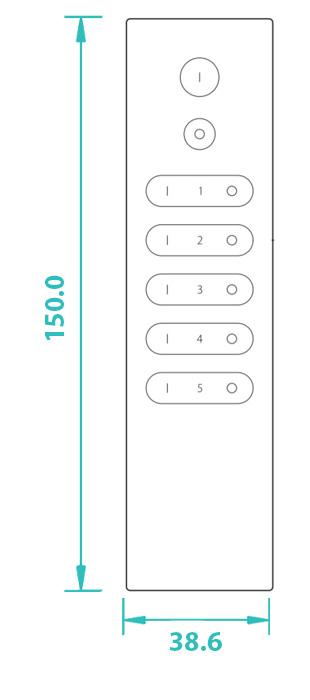 Sunricher RF 5-zónový Premium LED ovladač - DIM10 (SR-2833N-Z5)-Technický výkres