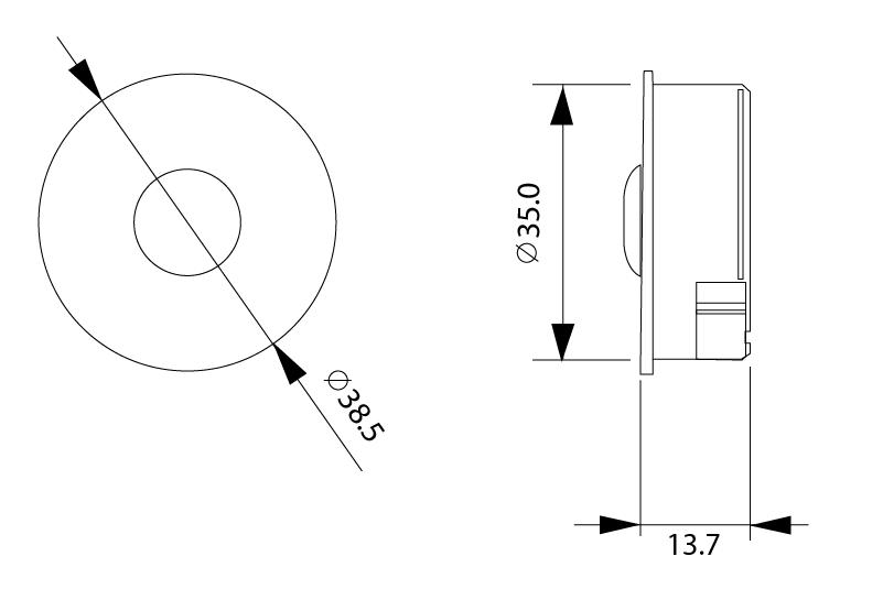 Sunricher RF 1-zónový mini LED ovladač - DIM10 - bílý kulatý (SR-2833S)-Technický výkres