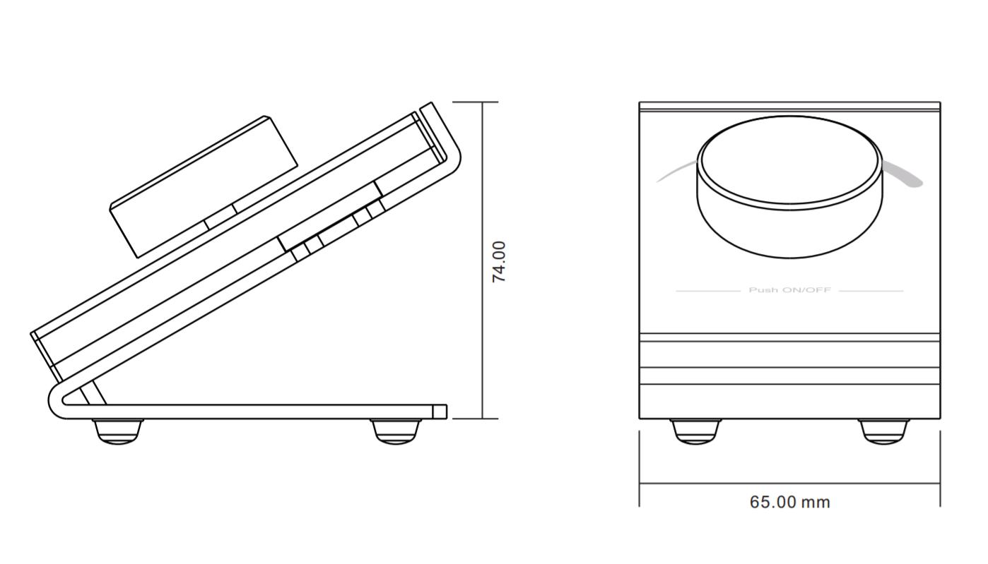 Sunricher RF 1-zónový LED stolní ovladač stmívač - DIM10 (SR-2836D)-Technický výkres