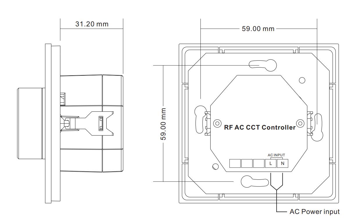 Sunricher RF 1-zónový CCT LED nástěnný ovladač - DIM10/230V - bílý (SR-2836NCCT)-Technický výkres