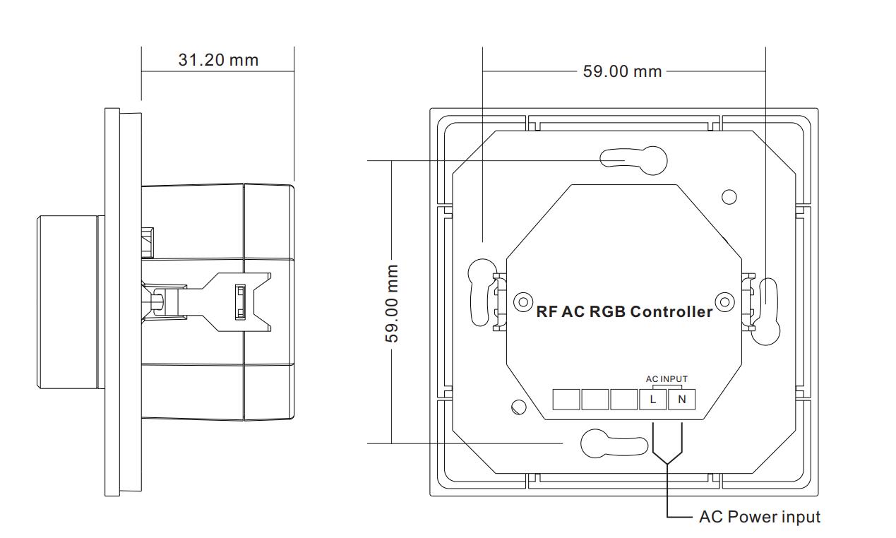 Sunricher RF 1-zónový RGB LED nástěnný ovladač stmívač - DIM10/230V - bílý (SR-2836NRGB-W)-Technický výkres