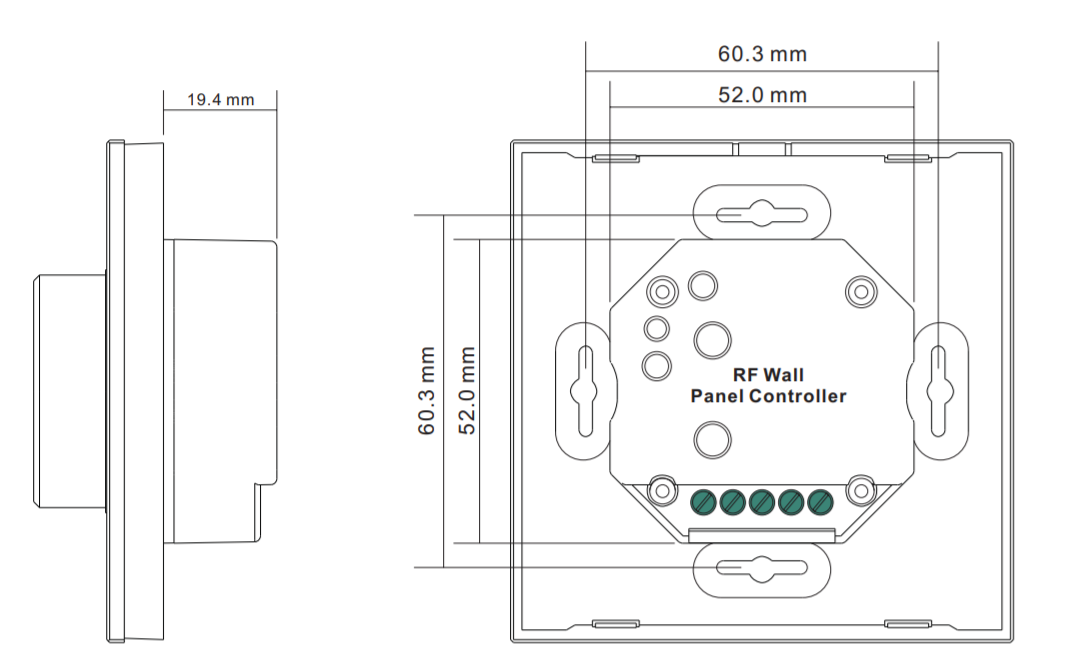 Sunricher RF 1-zónový CCT LED nástěnný ovladač - DIM10 - bílý (SR-2836RCCT-W)-Technický výkres