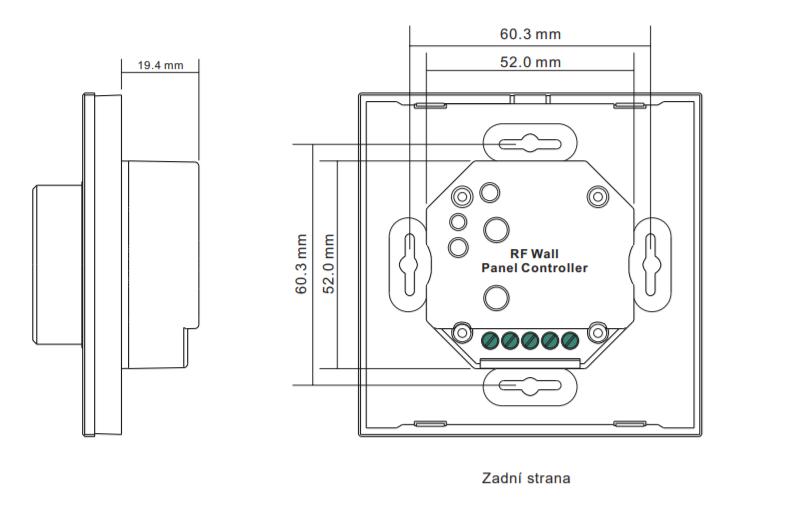 Sunricher RF 1-zónový LED nástěnný ovladač - DIM10 - bílý (SR-2836R)-Technický výkres