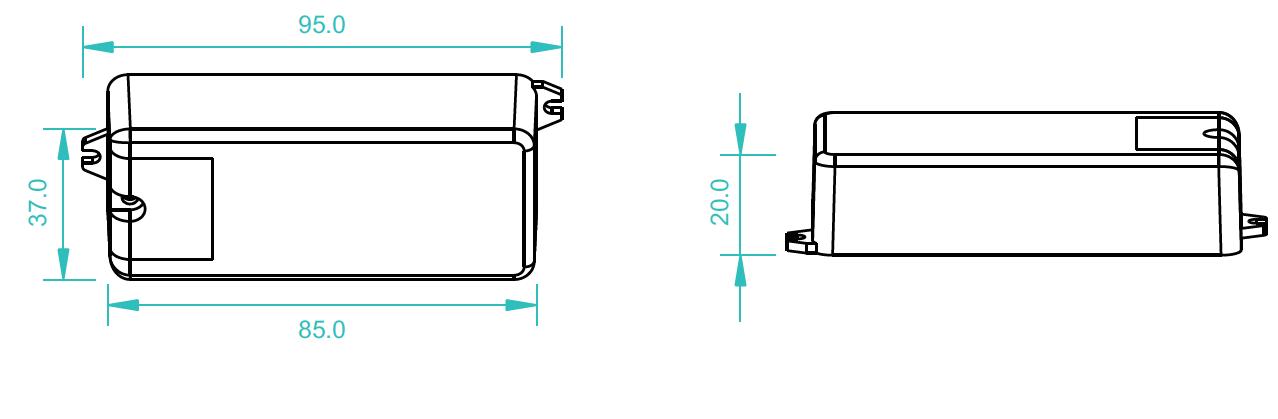 Sunricher RF LED přijímač, 1x8A - DIM10 (SR-1009CS)-Technický výkres