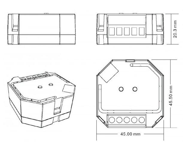 Sunricher RF 1-zónový triakový stmívač 400W - DIM10 (SR-1009SAC-HP) - technický výkres