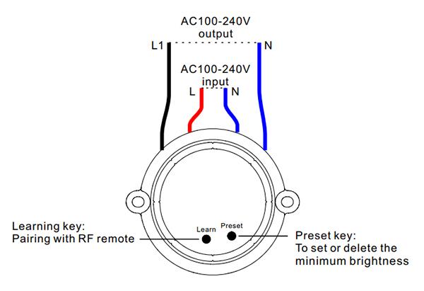 Sunricher RF 1-zónový triakový stmívač 100W - DIM10 (SR-1009SAC) - popis
