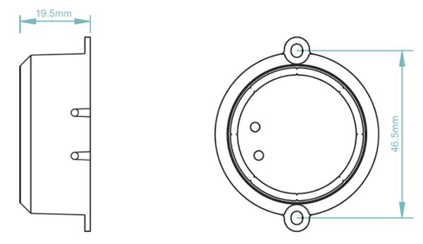Sunricher RF 1-zónový triakový stmívač 100W - DIM10 (SR-1009SAC) - technický výkres