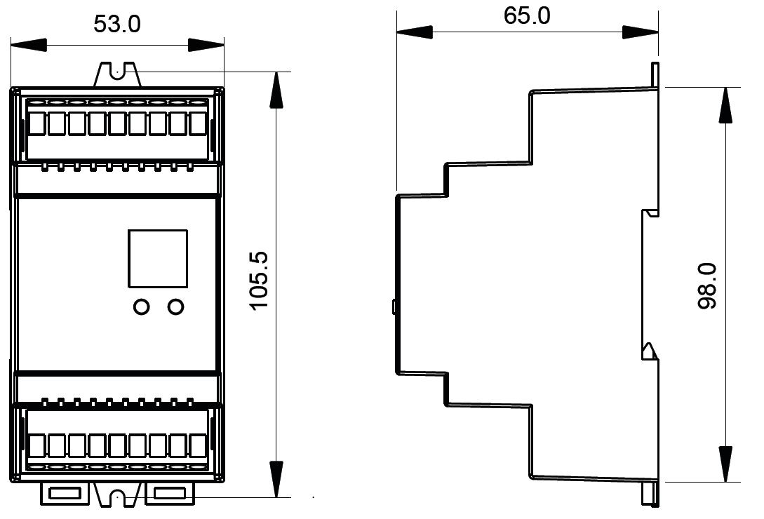 Sunricher DALI čtyřkanálový LED ovladač, 4x5A (SR-2304DIN)-Technický výkres