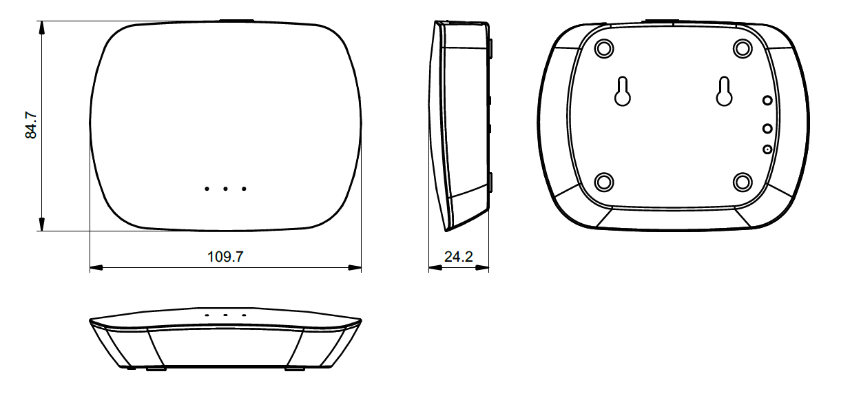 Sunricher WIFI - RF převodník k LED ovladačům - DIM10 (SR-2818WIN)-Technický výkres