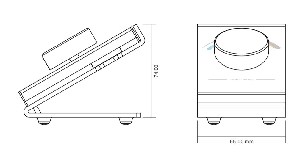 Sunricher RF 1-zónový CCT LED stolní ovladač - DIM10 (SR-2836DCCT)-Technický výkres