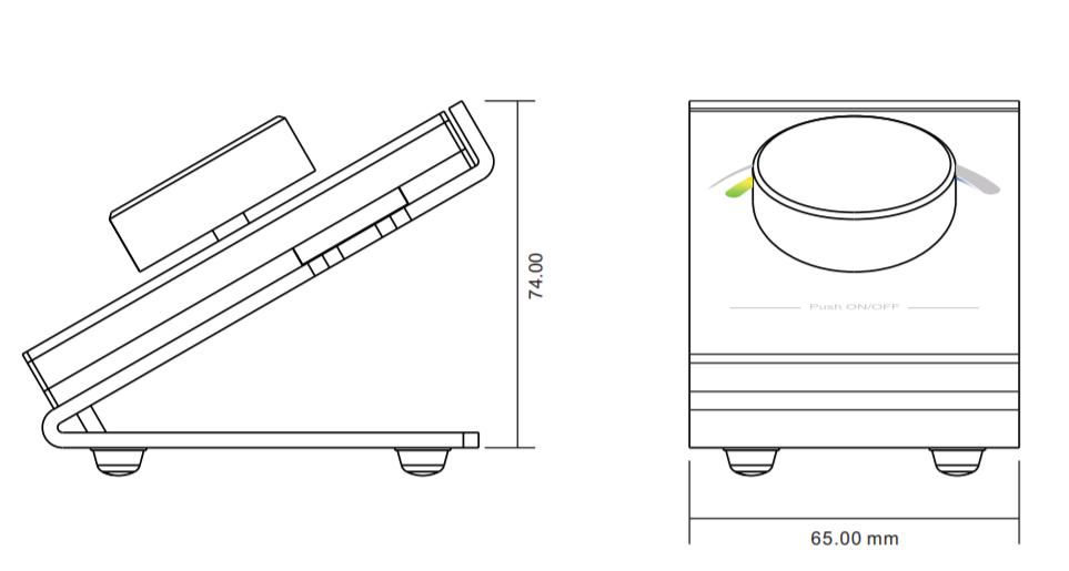 Sunricher RF RGB LED stolní ovladač - DIM10 (SR-2836DRGB)-Technický výkres