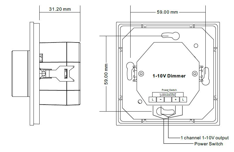 Sunricher RF 1-zónový LED nástěnný ovladač - DIM10/230V - bílý (SR-2836N)-Technický výkres