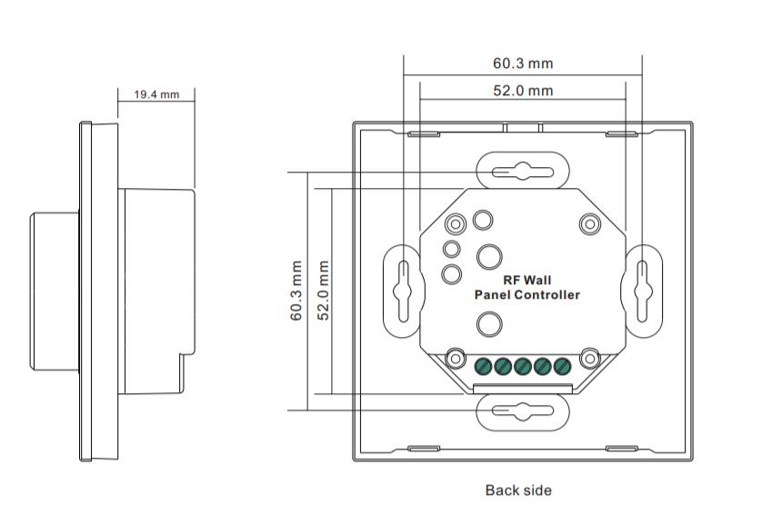 Sunricher RF 1-zónový RGB LED nástěnný ovladač - DIM10 - bílý (SR-2836RGB-W)-Technický výkres