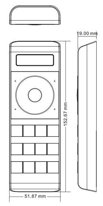 Sunricher RF 4-zónový dotykový RGBW LED ovladač - DIM10 (SR-2858Z4)-Technický výkres