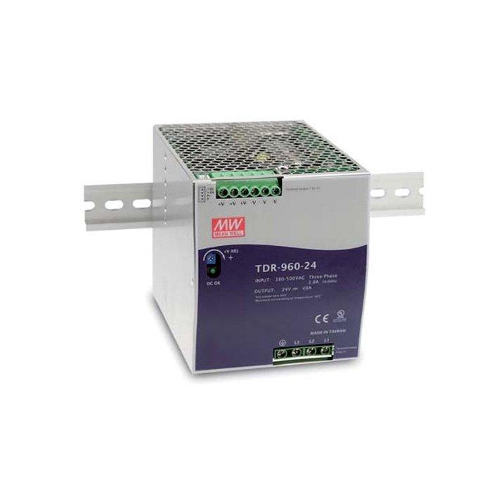 LED zdroj Mean Well TDR 960W 24V - 3 fázový na DIN lištu (TDR-960-24)
