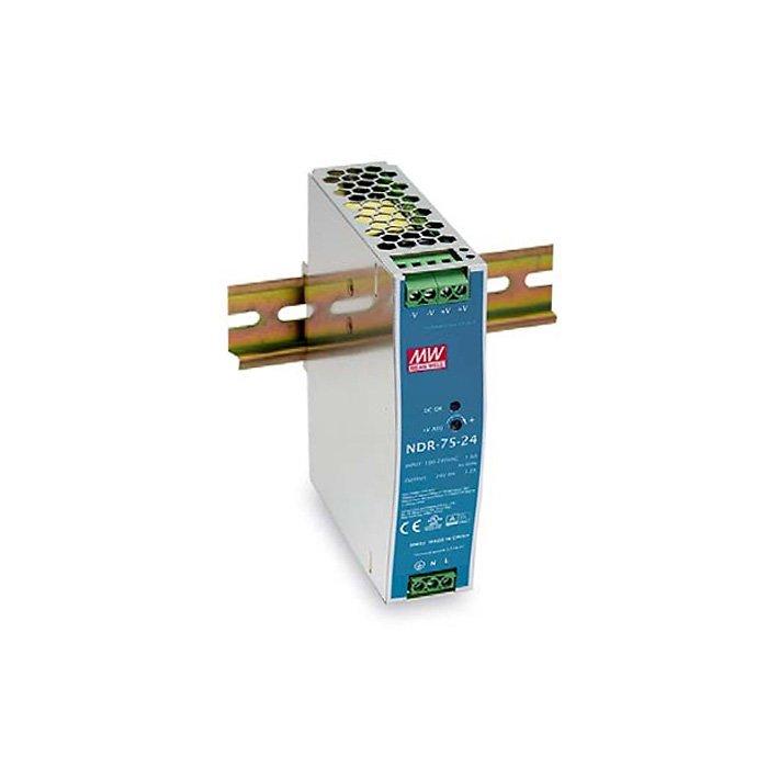 LED zdroj Mean Well NDR 75W 24V - na DIN lištu (NDR-75-24)