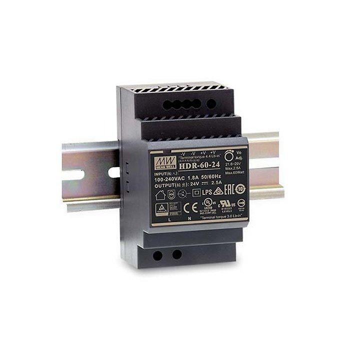LED zdroj Mean Well HDR 60W 24V - na DIN lištu (HDR-60-24)