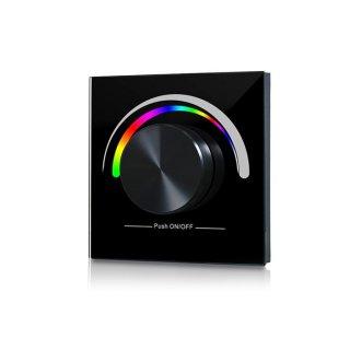 RF nástěnný RGB ovladač Sunricher 1-zónový 230V - černý (SR-2836NRGB-B)