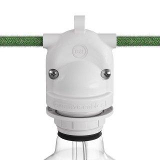 Venkovní objímka na žárovku E27 plastová s úchytem pro stínidlo a dvojitým vstupem IP65
