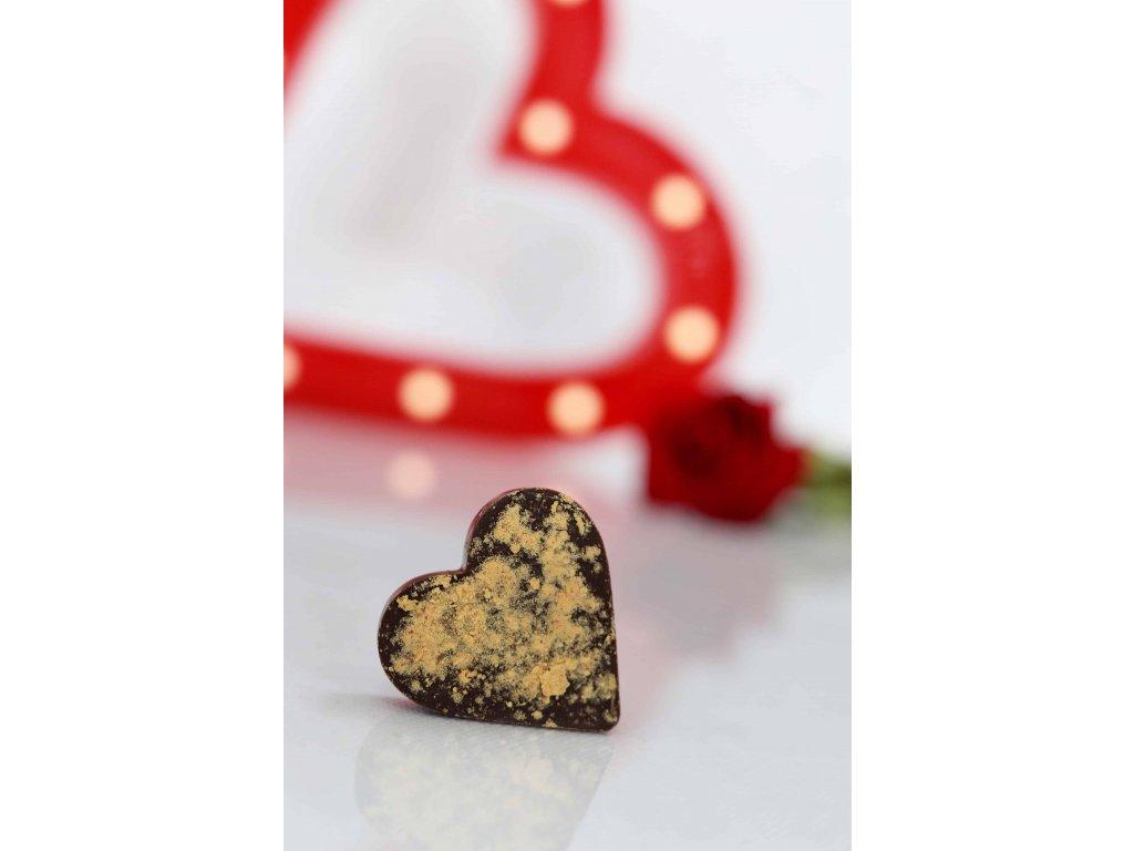 ČOKOLÁDOVÉ SRDCE s LYO PRÁŠKEM - mléčná čokoláda s lyobroskvemi (Balení 1 ks)