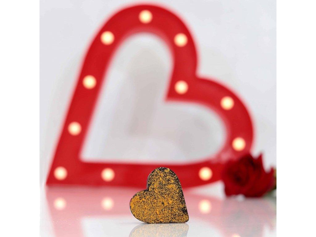 VALENTÝNSKÉ SRDCE s LYO PRÁŠKEM - hořká čokoláda s lyorakytníkem