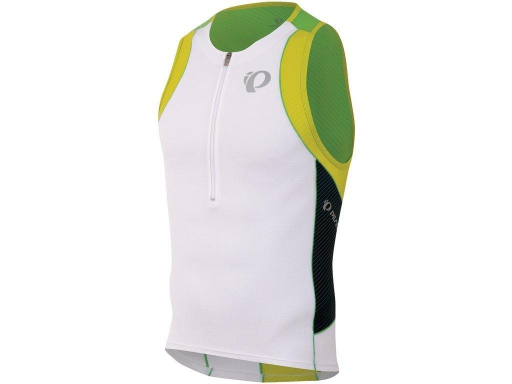 Cyklistický dres Pearl izumi ELITE In-R-Cool TRI SINGLET white green flash
