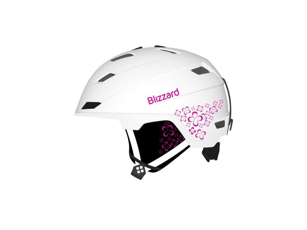 Lyžařská helma Blizzard VIVA DOUBLE - white matt/magenta flowers